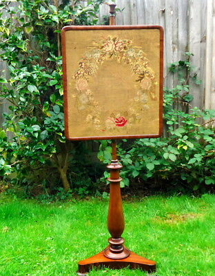 """""""REGENCY"""".Pole Screen with Needlepoint Floral Tapestry on a Tripod base.  c1820"""