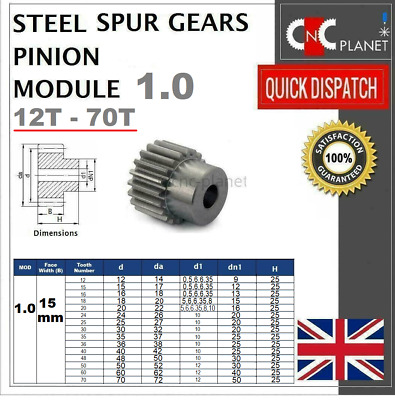 MODULE 1 15mm TOOTH FACE WIDTH EN8 STEEL SPUR GEAR PINION CNC PLASMA ROUTER UK