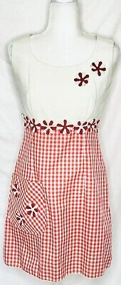 Alice Of California Vintage 1960s Check Gingham Floral White Red Mod Day Dress S