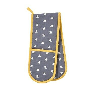 Ulster Weavers Bees Double Oven Glove  - Blue/White/Yellow
