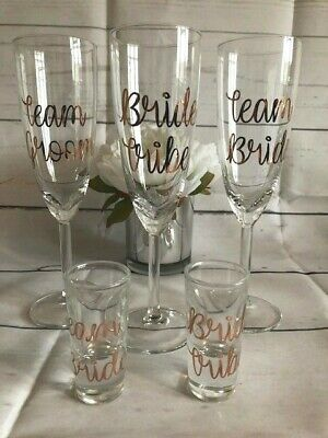 Rose Gold Personalised Champagne Flute Shot Glass Bridesmaid Wedding Favour Gift