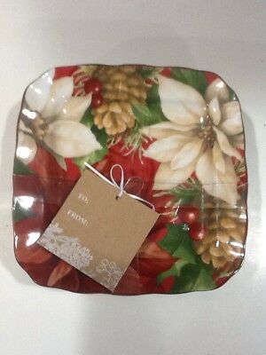 222Fifth Poinsettia Holly Christmas Winter New 4 Appetizer  Dessert Plates