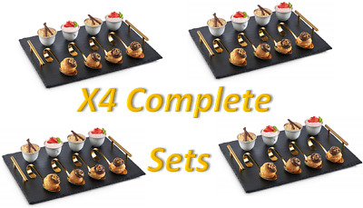 4 Sets of 9pc Cheese/Tapas Food Serving Tray Set 100% Natural Slate with Spoons