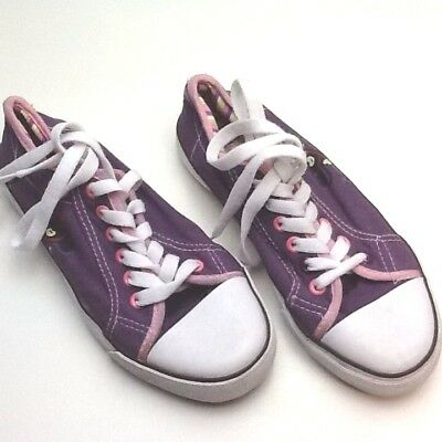 Girls Summer Pumps Lace Up Purple Shoes Trainers 1-2 Peter Storm (405)