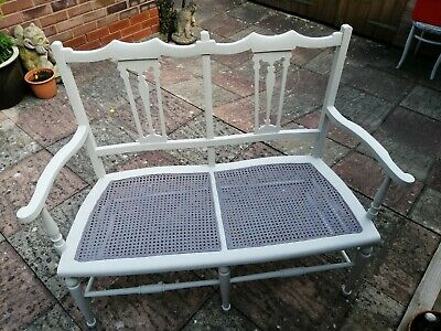 Edwardian Painted Rattan Rattan Two Seater Twin Seat.