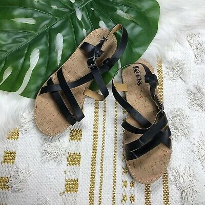 b0a54ead3 CHEROKEE SANDALS WOMEN S Black Cork Strappy Bling Jeweled Size 5 ...
