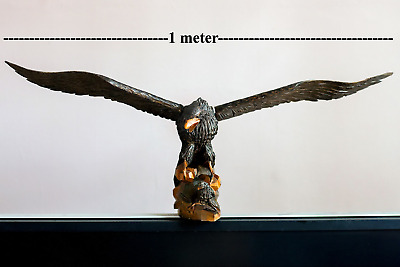 "Hand Crafted Realistic Carved Wood Eagle. Art Sculpture. 39.4"" length"