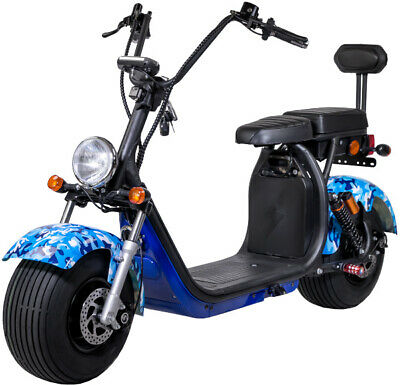RE04 CityCoco Big Wheel Harley Scooter Elektroroller BlueCamou E-Scooter 60V20Ah