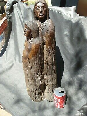Hand-Carved Sonoran Ironwood Native Couple: Seri Indian Freemasonic Sculpture