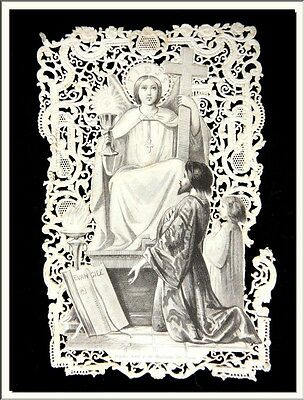 """ANTIQUE 1870's FRENCH """" THE HOLY GOSPELS """" CANIVET LACE HOLY CARD ! SEE MORE !"""