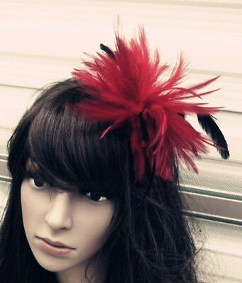 dark red black feather fascinator hair clip headpiece brooch wedding party