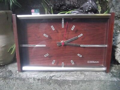 Vintage Retro Funky Wood Large Mantle Clock 1960's 1970's