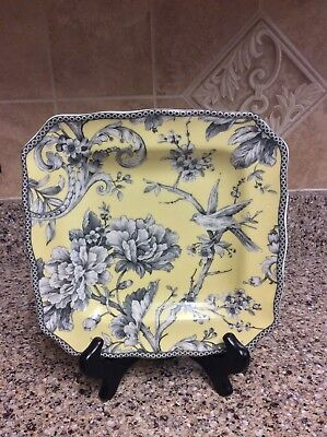 "222 Fifth Adelaide Yellow Floral Square Porcelain 8.5"" Salad Plate"