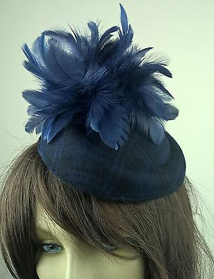 navy dark blue feather flower fascinator tartan pill box hat hair clip headpiece