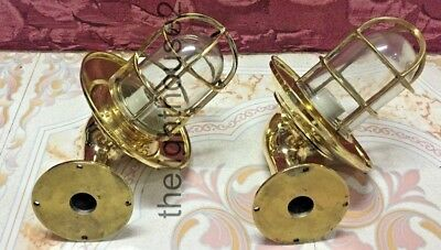 Nautical Vintage Style Passage Way Bulkhead Brass With Shade New Light Set Of 2