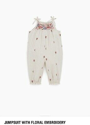 Zara Baby Jumpsuit With Embroidery Sold Out Girls Size 2-3