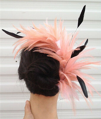 peach coral black feather fascinator comb hair clip headpiece wedding party