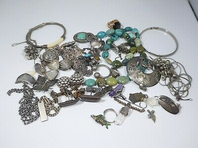 Large Assortment Of  Old Vintage Sterling Silver Jewelry 8.5 Ounces