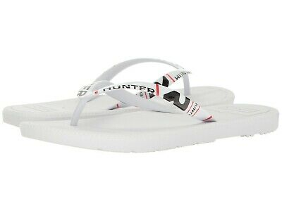 8de92113f Hunter Women s Original Exploded Logo Flip Flops White Thong Sandals Sz 7  New