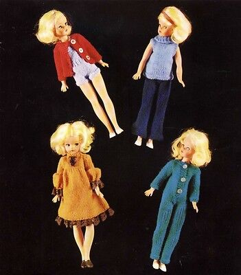 KNITTING PATTERN TO MAKE VINTAGE SINDY BARBIE DOLLS CLOTHES 6 items to make
