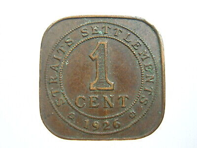 Straits Settlements 1 Cent 1926 Singapore Malaysia 96# World Money Coin