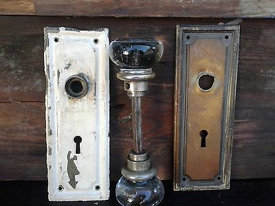 4 pc Vintage-Antique-Star Burst-Brass-Door-Knob-Architectural-Salvage Rare