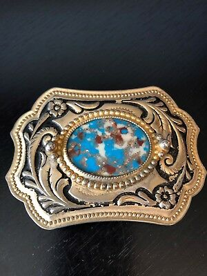 Vintage Resin Center Belt Buckle Gold Tone and Black Body Blue White Rust