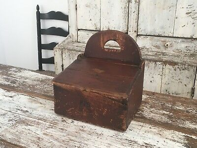 Aafa Early Antique Folk Art Primitive Large Wood Wall Candle Box Lift Lid Handle