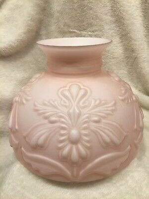 """Antique Pink Frosted 9 3/4"""" Base Embossed Raised Flower/Leaf Glass Lamp Shade"""