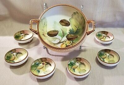 Antique Nippon Moriage Footed Nut Bowl And Cup Set, 7pc