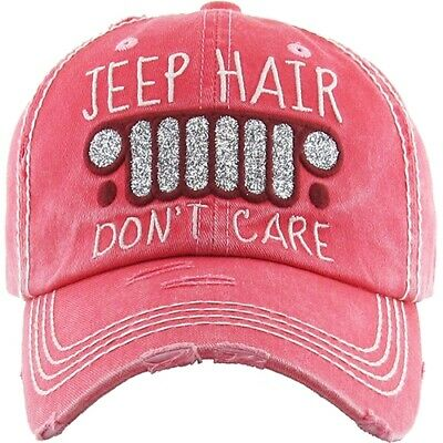 d4a42275ad8a1 JEEP HAIR DONT CARE Ladies Cap Pink Factory Distressed Hat Ajustable