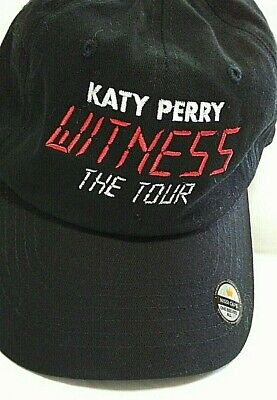 """Katy Perry """"Witness The Tour Cap Black Strapback H3 Nissi Hat Red/White Letters"""