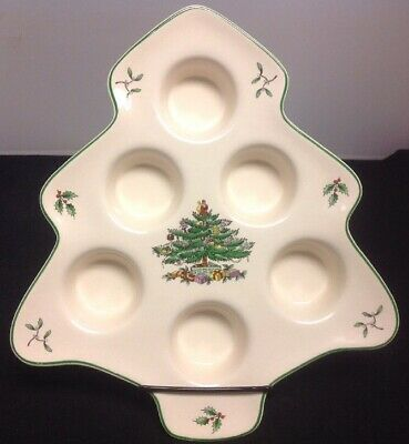 "Spode Christmas Tree Ceramic 11"" x 9"" Tealight Candle Tray - NEW"