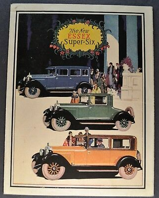 1927 Essex Super Six 6 Brochure Folder Speedster Coupe Coach Sedan Nice Original