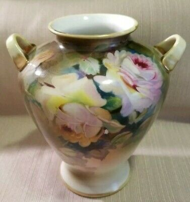 """Antique Morimura Nippon 7.5"""" Two Handle Vase W/ Hand Painted Roses"""