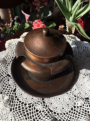 Antique Signed Roycroft Acid Etched Copper Humidor/Pipe Stand/Holder/Rack AS IS