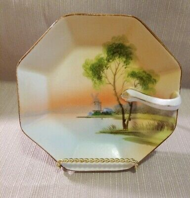 Antique Nippon Candy Nut Dish Hand Painted With Finger Loop Handle