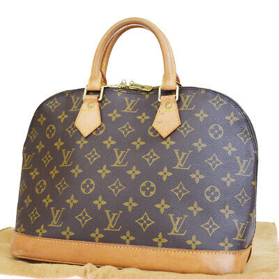 b43bfd16f280 Authentic LOUIS VUITTON Alma Hand Bag Monogram Leather Brown M51130 33EP677
