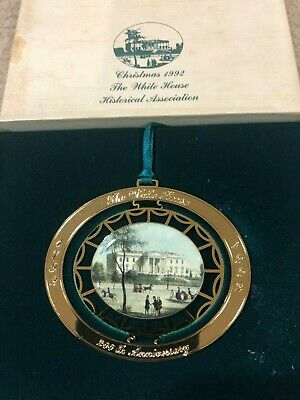 White House Historical Association Christmas Ornament with Box & Booklet 1992