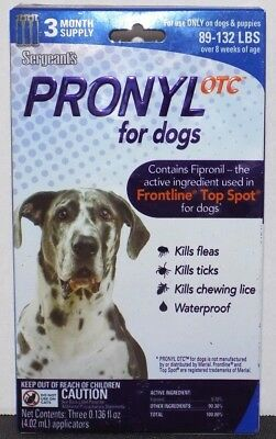 Sergeants Pronyl OTC for Dogs (89-132 lbs) 3 Month Supply - Brand New Sealed