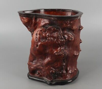 Chinese Exquisite Hand-carved Wooden Brush Pot