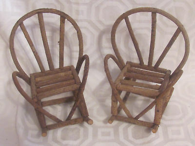 """Vintage Two Small Twig Doll Rockers-Grapevine-8 1/2"""" High-Doll House-Decor"""