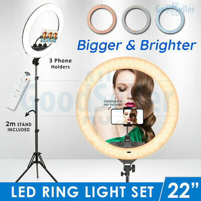 "19"" 5500K Dimmable LED Ring Light Diffuser Stand Make Up Studio Lighting Video"