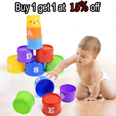Rainbow Cups Tower Boy Girl Bath Time Toy Birthday Christmas Stacking Tower Gift