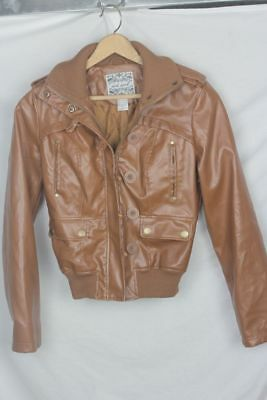 6673b3c16 WET SEAL BROWN Faux Leather Zipper Jacket Buttons Loops Womens Size ...