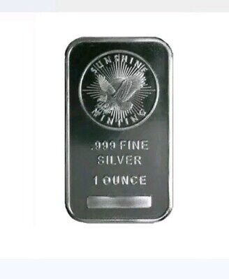 1 oz Troy Ounce Collectors Sunshine Minting Silver Bar .999 Fine Silver...sealed