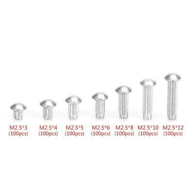 100pcs M2.5 Stainless Steel Round Head Knurled Shank Solid Rivets Assortment Set