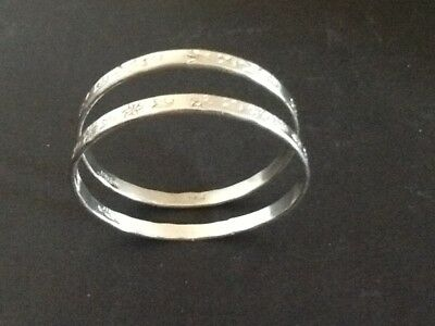 "Two Vintage Sterling Silver 925 Ladies Engraved Floral 8"" Bangle Bracelets"