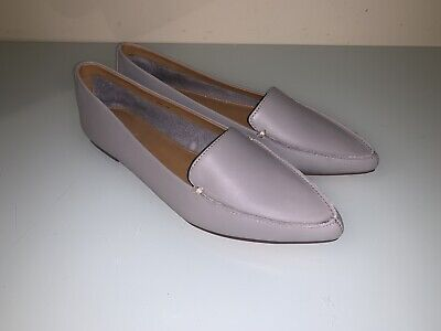 0d687160fd0 J Crew Factory Womens Edie Leather Loafers Gray Leather Pointed Toe Size 7.5
