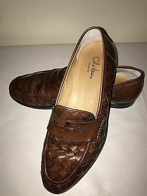6332bb20ba8 COLE HAAN BROWN Basket Weave Leather Penny Loafers Size 7 C Wide ...